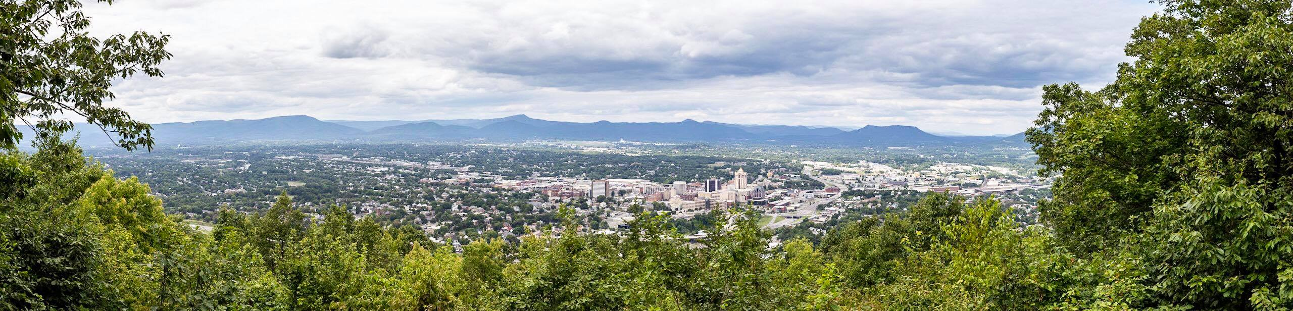panoramic of Roanoke Va from Mill Mountain
